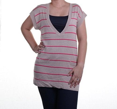 August Silk Pink Striped Womens V-Neck Tunic Sweater Beige XL