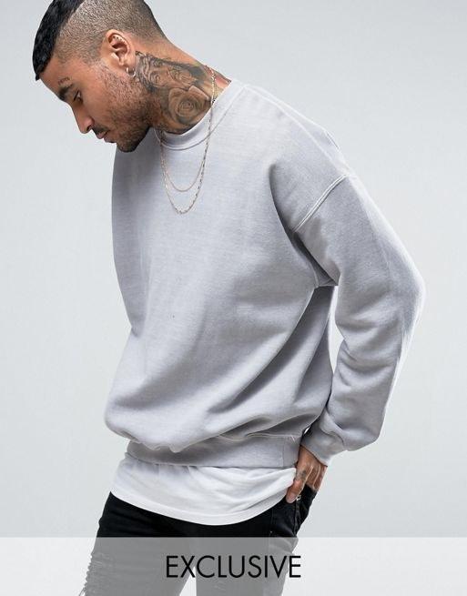 Reclaimed Vintage Inspired Oversized Sweatshirt In Gray Overdye