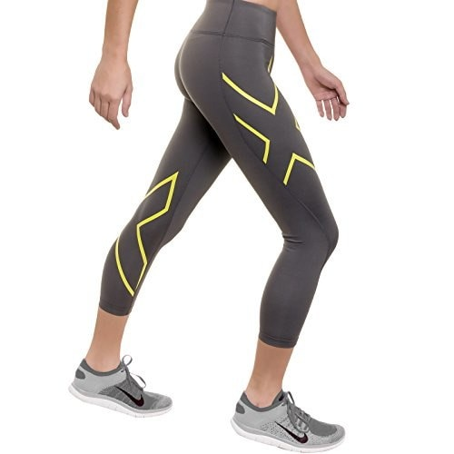 2XU Womens Mid-rise Compression 7/8 Tights (Slate/Lime, Medium)