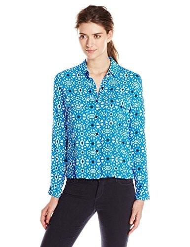 Jessica Simpson Womens Clover Blouse, Blue Geo Tile, Large