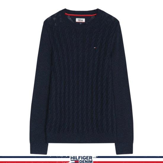 トミー・ヒルフィガーデニム男性女性ベーシックケーブル・クルー・ネック・ニットセーターTJMR3WOE66D0 B76 ニット/セーター/ニット/韓国ファッション