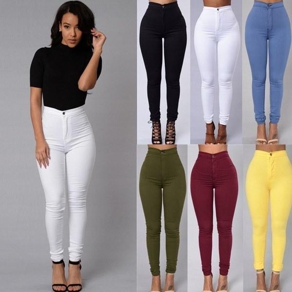 ファッションレディースカジュアルデニムジーンズパンツファッションミッドウエストレギンスYourbeauty