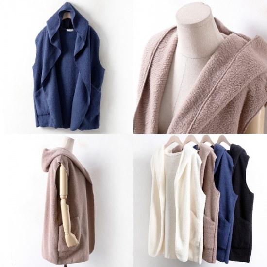 ウィスィモールIWオープン毛フードチョッキZY17114col77110size ニット/セーター/フードニット/韓国ファッション