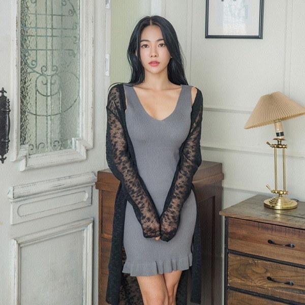 ロフェシースルー・ロングカディゴンnew 女性ニット/カーディガン/韓国ファッション