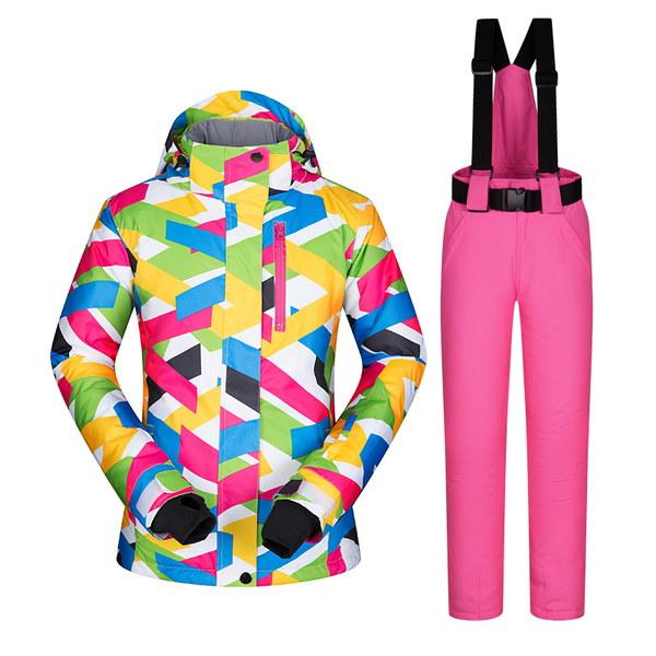 レディーススノーボード服スノーボードスーツセット二重防水防風スキースーツセット大きいサイズ 小さいサイズ秋冬
