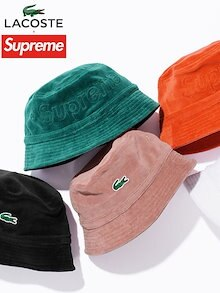 Supreme LACOSTE シュプリーム ラコステ キャップ ハット バケットハット Velour Bucket Hat 新品 正規品 2018SS LACOSTE SPORT L!VE ラコステ