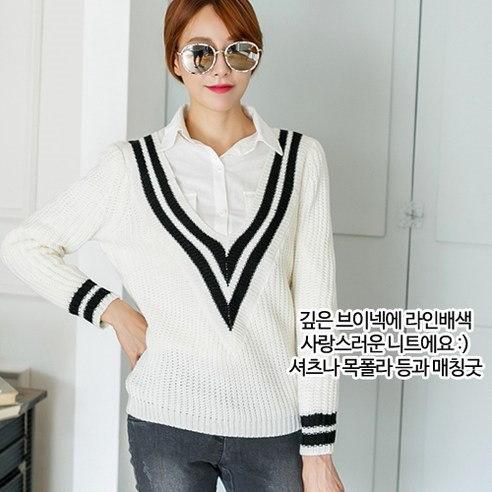 メイシーズダブルVのニットTニットkorean fashion style