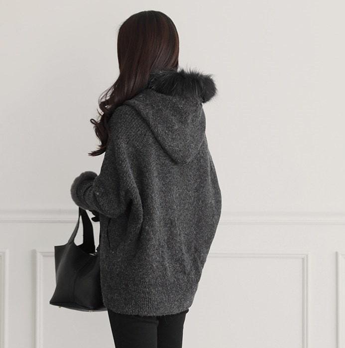 [PUR-PLE]  冬はどこかに「ファーアイテム」がなくちゃ!♡リアルフォックスファーフードニットジャケット