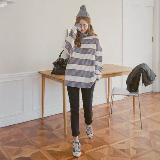 ピンクシスレーリミットトドゥルネクロング・ニット ニット/セーター/タートルネック/ポーラーニット/韓国ファッション