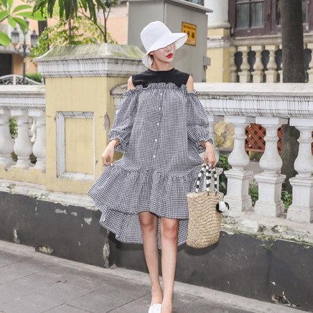 重ね着肩ひらきフリルチェックオナガガモワンピースデイリールックkorea women fashion style