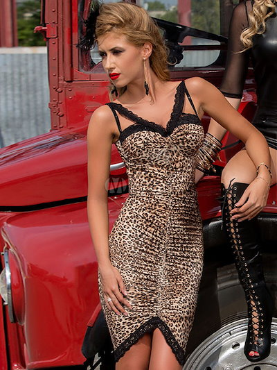Multicolor Leopard Print Split Polyester Bodycon Dress for Women