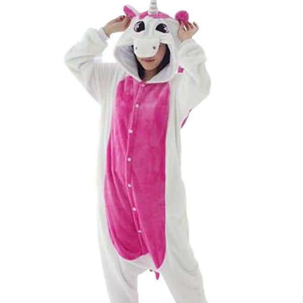 TMOユニコーンユニセックスフランネルパーカマパジャマコスチューム動物の寝間着カップル用