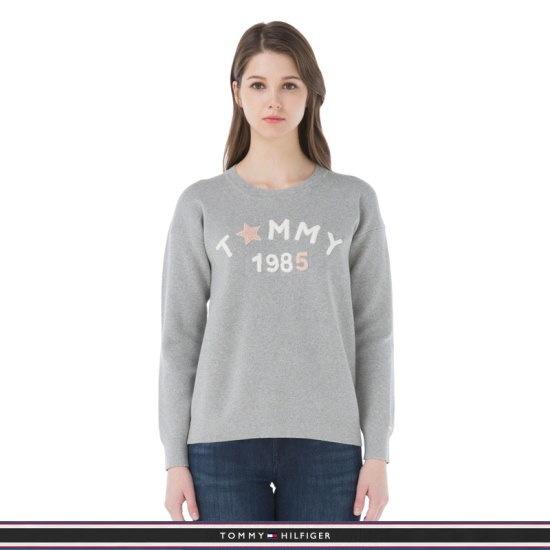 トミー・ヒルフィガー女性トミー・ヒルフィガー女性レタリング自首ニットセーターTFMR1WOE53A0N26 ロングニット/ルーズフィット/セーター/韓国ファッ㠼/td>