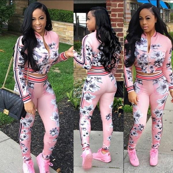 Women Print Tracksuit Hoodie Sweatshirt Coat+Pants Casual Ladies Sweatsuit Clothing 2 Pieces LJ5442N