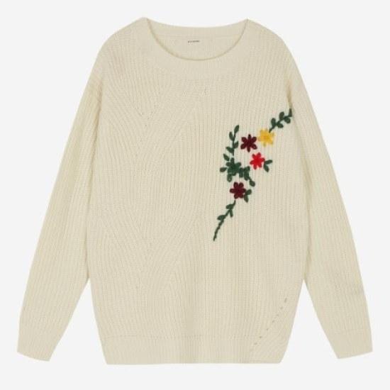 エッコノフラワー自首装飾セーターATSW7D211 ニット/セーター/韓国ファッション