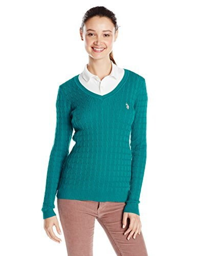U.S. Polo Assn. Juniors Solid Cable Knit V-Neck Pullover, Fanfare Combo, Medium