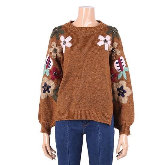 パシペ花柄ニットティーF74MSW724 ロングニット/ルーズフィット/セーター/韓国ファッション