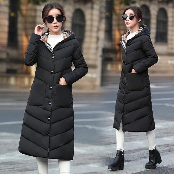 女性シングルブレストロングフードダウンジャケット暖かい厚いスリムフィットウィンターコートパーカーアウターM-3XL