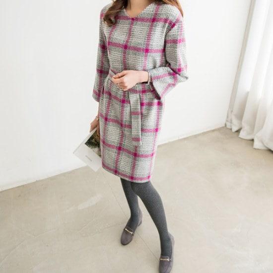 ピピンミケチェックラテベルトセットワンピース35012 一(チェイル)毛織/・ツイードワンピース/ 韓国ファッション