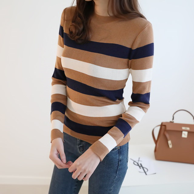 [Duming] Lev stripe knit three color round neck knit autumn knit color knit