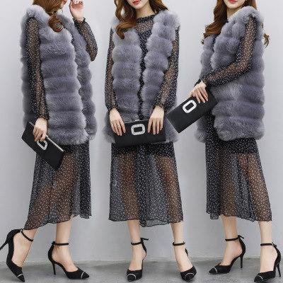 韓国ファッション高品質/華やか♪暖かい人工ファー・ロングチョッキ◆ 軽く暖かみのベスト カラー フード付き 大きい ◆冬の人工毛チョッキ 長ベスト