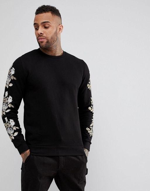 ASOS Sweatshirt With Floral Print & Emroidery Sleeve