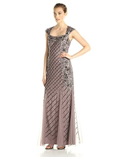 Adrianna Papell Womens Cap Sleeve Floral Side Beaded Gown, Stone, 12