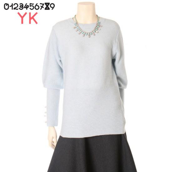 ワイケー袖ボタンラウンドニートY171N908 ニット/セーター/タートルネック/ポーラーニット/韓国ファッション
