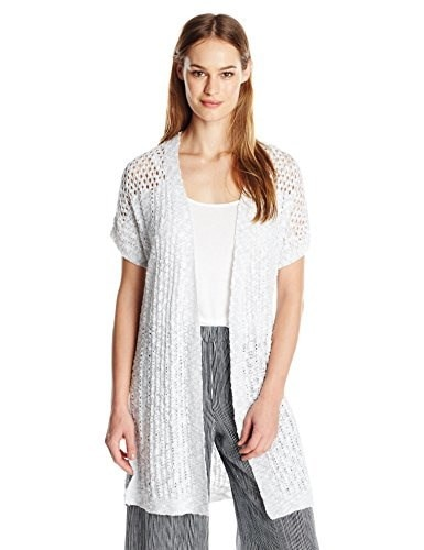 Two by Vince Camuto Womens Short Sleeve Stitch Interest Open Front Long Cardi, Ultra White, Large