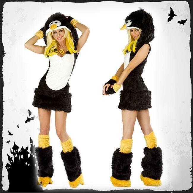 222465a131d9b2 ハロウィンアニマルコスプレ☆ペンギン変装 Halloweenセットコスチューム 4点セット 女性 仮装 大人 レディース