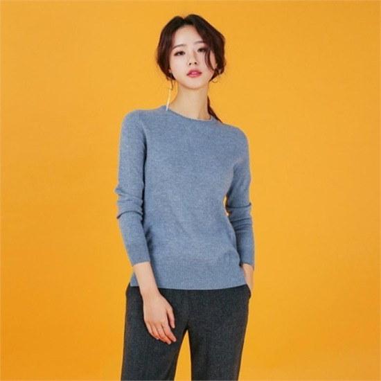 るみさん行き来するようにるみさんるみさんリズカシミヤ100配色ニットblue ニット/セーター/ニット/韓国ファッション