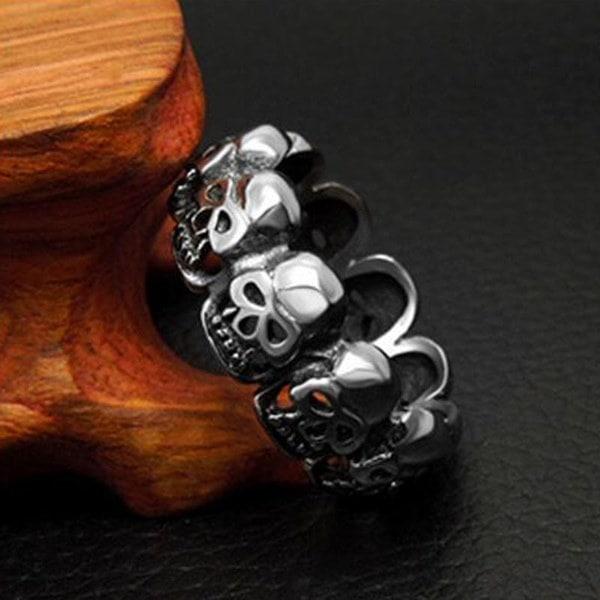 最高品質のチタン鋼ゴシック様式のスカルレトロリングメンズ&レディースジュエリー