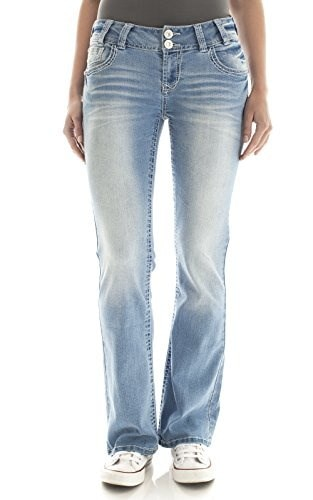 WallFlower Juniors Luscious Curvy Bling Boocut Jeans in Amal Size: 5