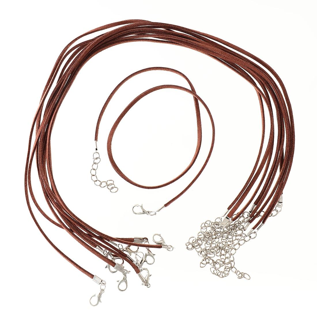 ネックレス紐 10本 合皮スエード ブラウン(ココアパウダーの様な色味) 45cm〜50cm 調整可能 ネックレスパーツ アクセサリーパーツ AP1663