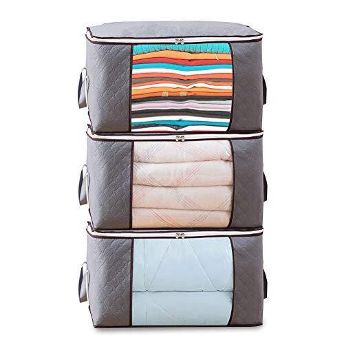 3枚組 布団収納袋 大容量 不織布 持ち手付 羽毛布団 毛布 衣類収納袋防水防塵除湿 透明ビニール補強 通気性の良い 布団セット用収納ケース 60x35x40cm3枚組