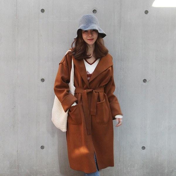 フードロングベルトコート 女性のコート/ 韓国ファッション/ジャケット/秋冬/レディース/ハーフ/ロング/