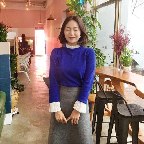 まゆ配色ニットnew 女性ニット/ラウンドニット/韓国ファッション