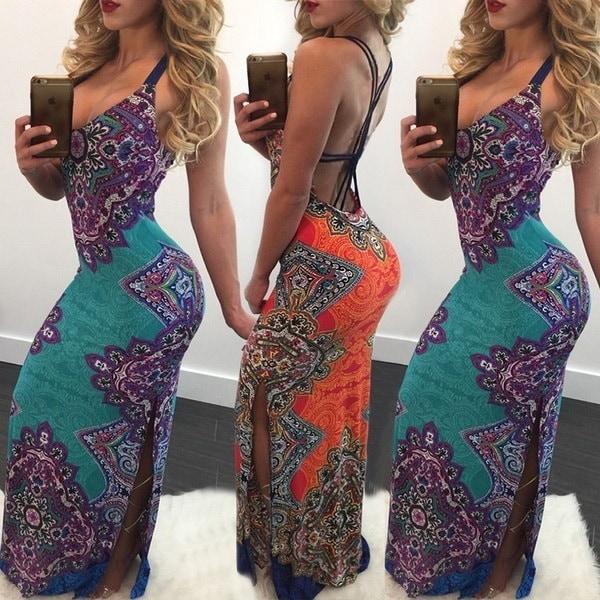 sexy Ethnic Style Printed Back Bandage Plunge Maxi Dress