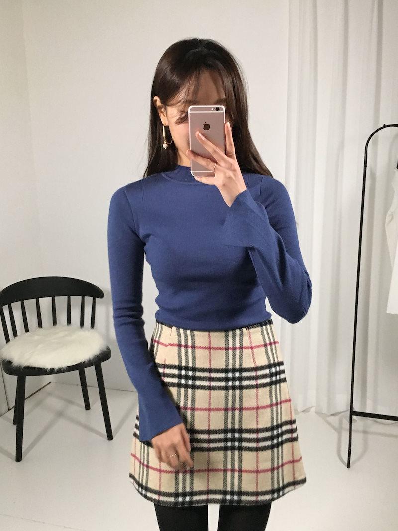 マンデースリムフィットハーフネックニットkorea fashion style