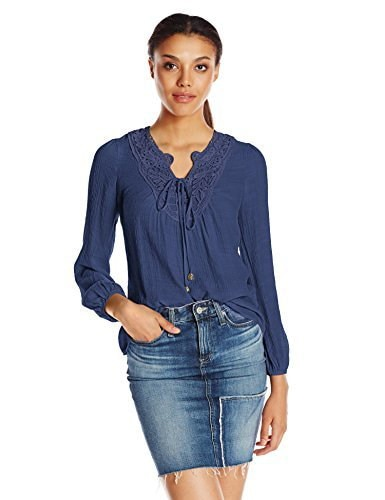 Blu Pepper Womens Long Sleeve Lace Up Top with Crochet Applique, Navy, Large