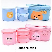 【Kakao friends】カカオフレンズ鞄保温弁当箱/Kakao friends bag thermal lunch box/2種・ご飯箱+おかず箱2個+バック