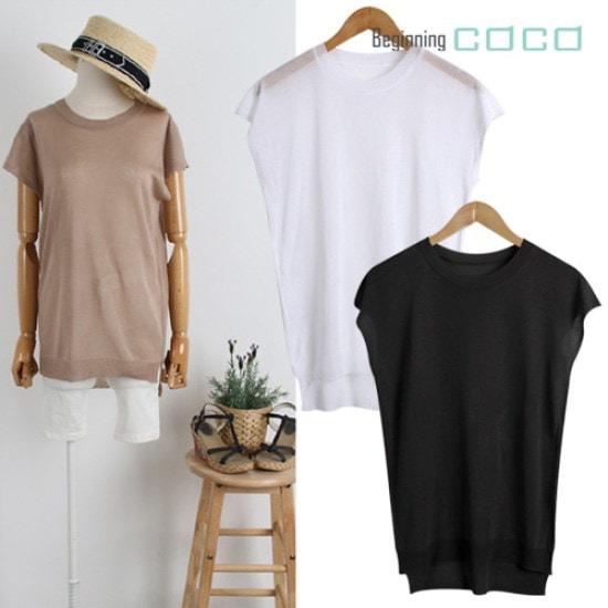 ビギニングココシースルー・袖なしニット ニット/セーター/ニット/韓国ファッション