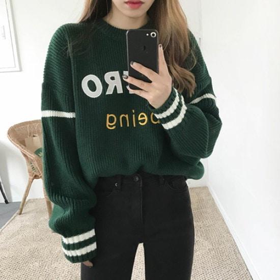 エイと非レトロラウンドニット ニット/セーター/ニット/韓国ファッション