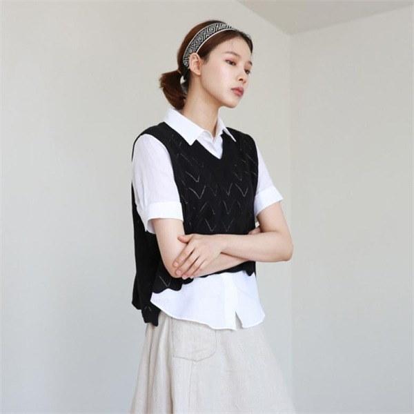 デイリー・マンデーPattern vneck knit vestベストnew 女性ニット/ニットベスト/韓国ファッション