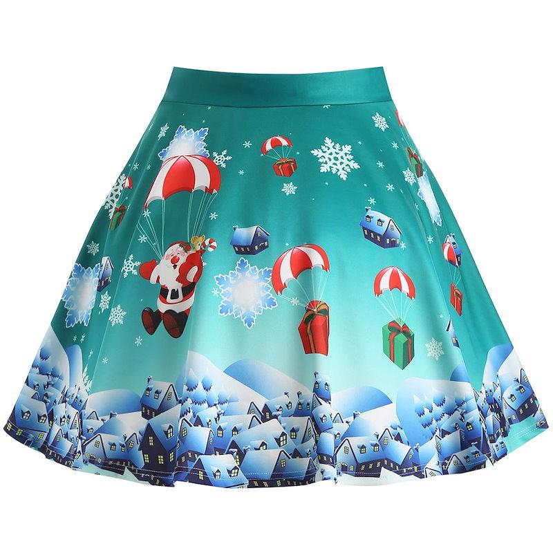 クリスマスプレゼントサンタクロースプリントプラスサイズスカート