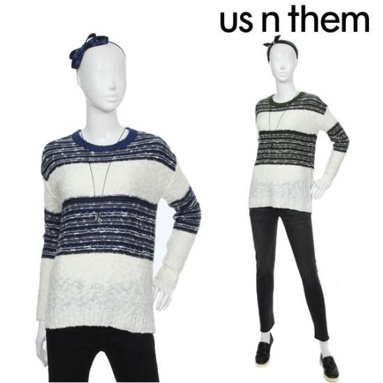 オスエンデム女性カラーブロックニット ニット/セーター/ニット/韓国ファッション