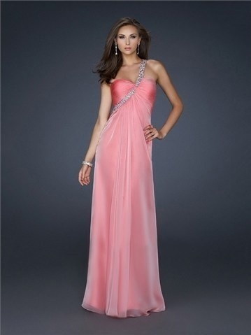 One Shoulder with Beadings Open Back Floor Length Chiffon Homecoming Dress  WD0453