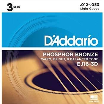 D Addario ダダリオ アコースティックギター弦 フォスファーブロンズ Light .012.053 EJ16-3D 3set入りパック 【国内正規品】