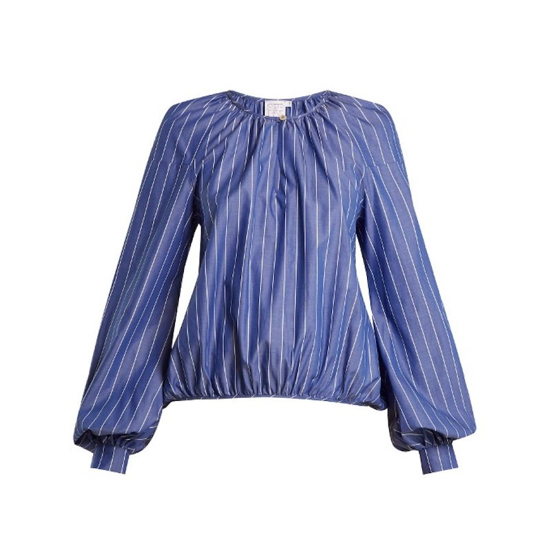 ステラジーン レディース トップス ブラウス・シャツ【Round-neck striped cotton blouse】Blue
