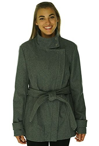 Rachel Roy Funnel Collar Cropped Trench Coat Charcoal Medium